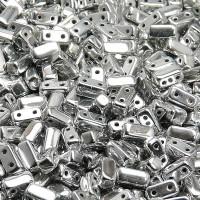 Brick Beads (Кирпичи) - Бусины чешские стеклянные двухдырчатые прямоугольники 3х6мм, 01700 - хрусталь серебряный металлик (50 шт)