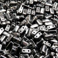 Brick Beads (Кирпичи) - Бусины чешские стеклянные двухдырчатые прямоугольники 3х6мм, 23980L - гематитовый непрозрачный (50шт)