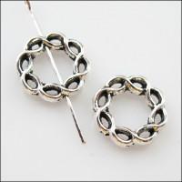 Рамка для бусин - кольцо плетеное витое, 15мм, под серебро, 1шт