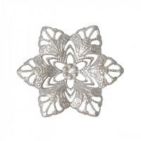 Филигрань металлическая цветок, 35х30мм, под серебро