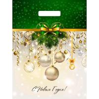 Пакет с выруб. ручкой 31*40 (60мк) ламинация  - НГ Бежево-зеленый с еловыми веточками и шарами