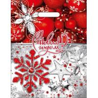 Пакет с выруб. ручкой 31*40 (60мк) ламинация  - НГ С Новым годом - Бело-красный Снежинка, стразы