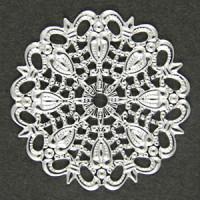 Филигрань металлическая круглая, 25мм, под серебро