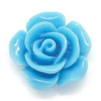 Декоративные Розочки из смолы 14мм, уп. 4 шт. - голубой
