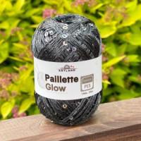 Пряжа Paillette (Пайлетте) - добав. нить с пайетками, 140 м, 25 гр, 100% Полиэстер - 63 Серый темный