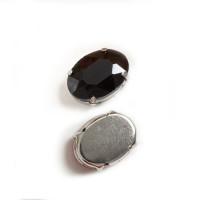 Страз в цапах (оправе) стеклянный ОВАЛ 13х18 мм - черный №16 - 1шт.