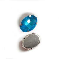 Страз в цапах (оправе) стеклянный ОВАЛ 13х18 мм - голубая бирюза №12 - 1шт.