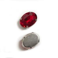 Страз в цапах (оправе) стеклянный ОВАЛ 13х18 мм - красный темный №18 - 1шт.