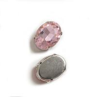 Страз в цапах (оправе) стеклянный ОВАЛ 13х18 мм - розовый №20 - 1шт.