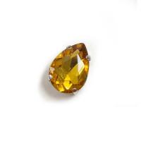 Страз в цапах (оправе) стеклянный КАПЛЯ 13х18 мм - золото №14 - 1шт. пришивной