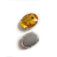 Страз в цапах (оправе) стеклянный ОВАЛ 13х18 мм - золото №14 - 1шт.