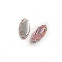 Страз в цапах (оправе) стеклянный ОВАЛ заостренный 9х18 мм - Розовый №20 - 1шт.