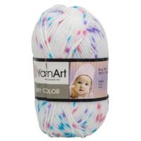 Пряжа BabyColor (Бэби Колор), YarnArt (Турция), 150м, 50гр, 100% акрил, 0112 - белый - малиновая, голубая, фиолетовая крапинка