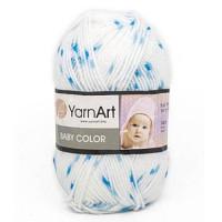 Пряжа BabyColor (Бэби Колор), YarnArt (Турция), 150м, 50гр, 100% акрил, 5134 - белый - голубая, синяя крапинка