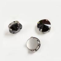 Страз в цапах (оправе) стеклянный КРУГ 12 мм - уп. 2 шт. - черный №16 пришивные