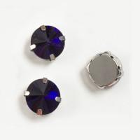 Страз в цапах (оправе) стеклянный КРУГ 12 мм - уп. 2 шт. - т. фиолетовый пришивные