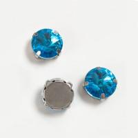 Страз в цапах (оправе) стеклянный КРУГ 14 мм - 1 шт. - голубая бирюза №12 пришивной