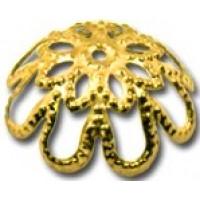 Шапочка (розетка) для бусин металлическая Zlatka DC-008/5 15мм, под золото, 1шт