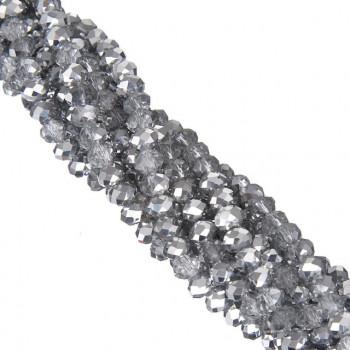 Бусины рондели 3 мм - №77 зеркальное серебро, 1 нить 40см+/-5, граненные стеклянные