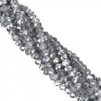 Бусины рондели 4 мм - №77 зеркальное серебро, 1 нить 40см+/-5, граненные стеклянные