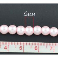 Бусины стеклянные под жемчуг 6 мм, нить 80 см, ~150 шт - розовый