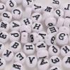 Бусины-буковки БЕЛЫЕ круглые, акриловые 7мм (русский алфавит) - уп. 28гр (~200шт) микс букв