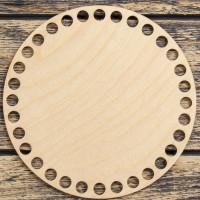 Заготовка для вязания - Донышко для корзины - Круг 15 см, фанера 3мм, d отверстий = 9 мм, 1шт