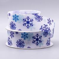 Лента репсовая 25мм с рисунком - Снежинки - цвет синие на белом, 1 м