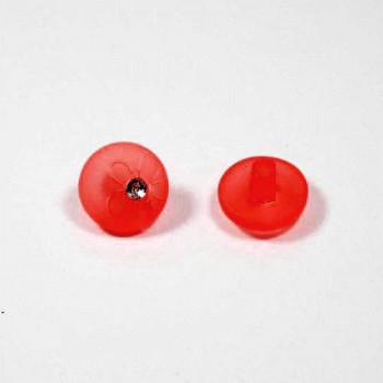 Пуговицы 13мм пластик на ножке, цвет красный, круг, уп. 4шт (со стразой с рисунком Цветок)