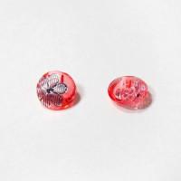 Пуговицы 13мм пластик с полупотайным ушком, цвет красный, круг, уп. 4шт (полупрозрачные с рисунком Цветок)