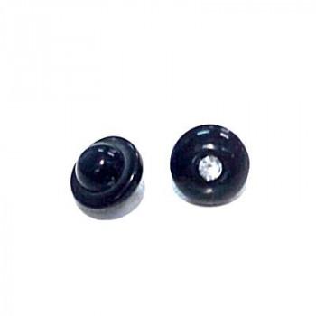 Пуговицы 10мм пластик на ножке, цвет черный, круг, уп. 4шт (со стразой)