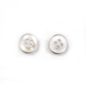 Пуговицы 9мм пластик на 4 прокола, цвет белый перламутр, круг, уп. 6шт
