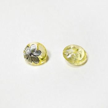 Пуговицы 13мм пластик с полупотайным ушком, цвет светло-желтый, круг, уп. 4шт (полупрозрачные с рисунком Цветок)