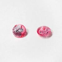 Пуговицы 13мм пластик с полупотайным ушком, цвет темно-розовый, круг, уп. 4шт (полупрозрачные с рисунком Цветок)