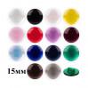 Пуговицы 15мм пластик на ножке, Карамель, цвет светло-серый, круг, уп. 4шт