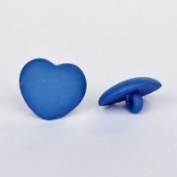 Пуговицы 15мм пластик на ножке, цвет синий, Сердце, уп. 4шт
