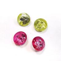 Пуговицы 13мм пластик с полупотайным ушком, МИКС цветов, круг, уп. 4шт (полупрозрачные с рисунком Цветок)