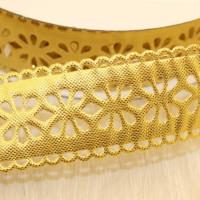 Декоративная лента с цветочный орнаментом 23мм, золото, 1м