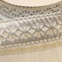 Декоративная лента с цветочный орнаментом 23мм, серебро, 1м