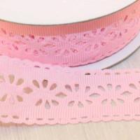 Декоративная лента с цветочный орнаментом 23мм, нежно-розовый, 1м