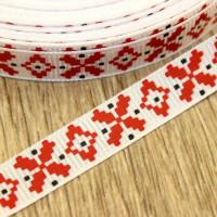 Лента репсовая 10мм с рисунком - Красный узор на белом, 1 м