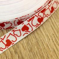 Лента репсовая 10мм с рисунком - Красные сердца на белом, 1 м