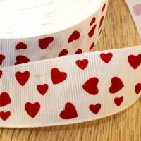 Лента репсовая 25мм с рисунком - Красные сердца на белом, 1 м