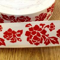 Лента репсовая 25мм с рисунком - Красные цветы на белом, 1 м