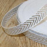Декоративная лента 10 мм Тесьма Уголки-галочки - Серебро, 1м