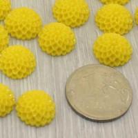 Кабошоны Георгин 12мм, уп. 2 шт - цвет желтый