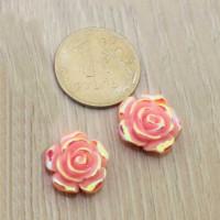 Кабошоны Роза 15мм - розовый с радужным блеском, уп. 2 шт