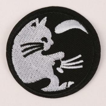 Термонаклейка Кошки, d = 6 см, цвет чёрно-белый