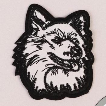Термонаклейка Волк, 7 × 6 см, цвет чёрно-белый