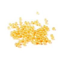 Бусины пластик под жемчуг 6 мм, уп. 5 гр (~50 шт) - цвет желто-оранжевый